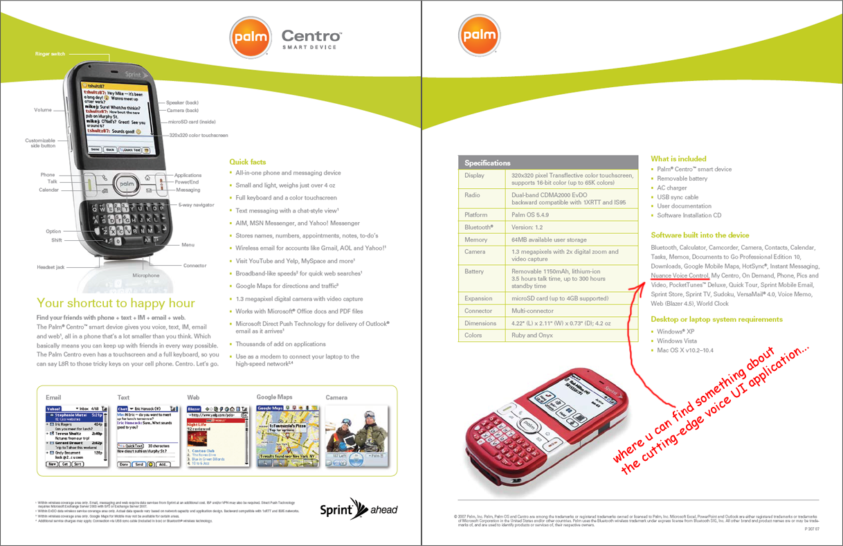 'Voice Control' introduced on Centro brochure.