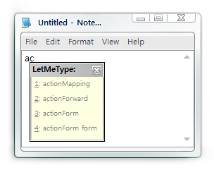 LetMeType in Notepad