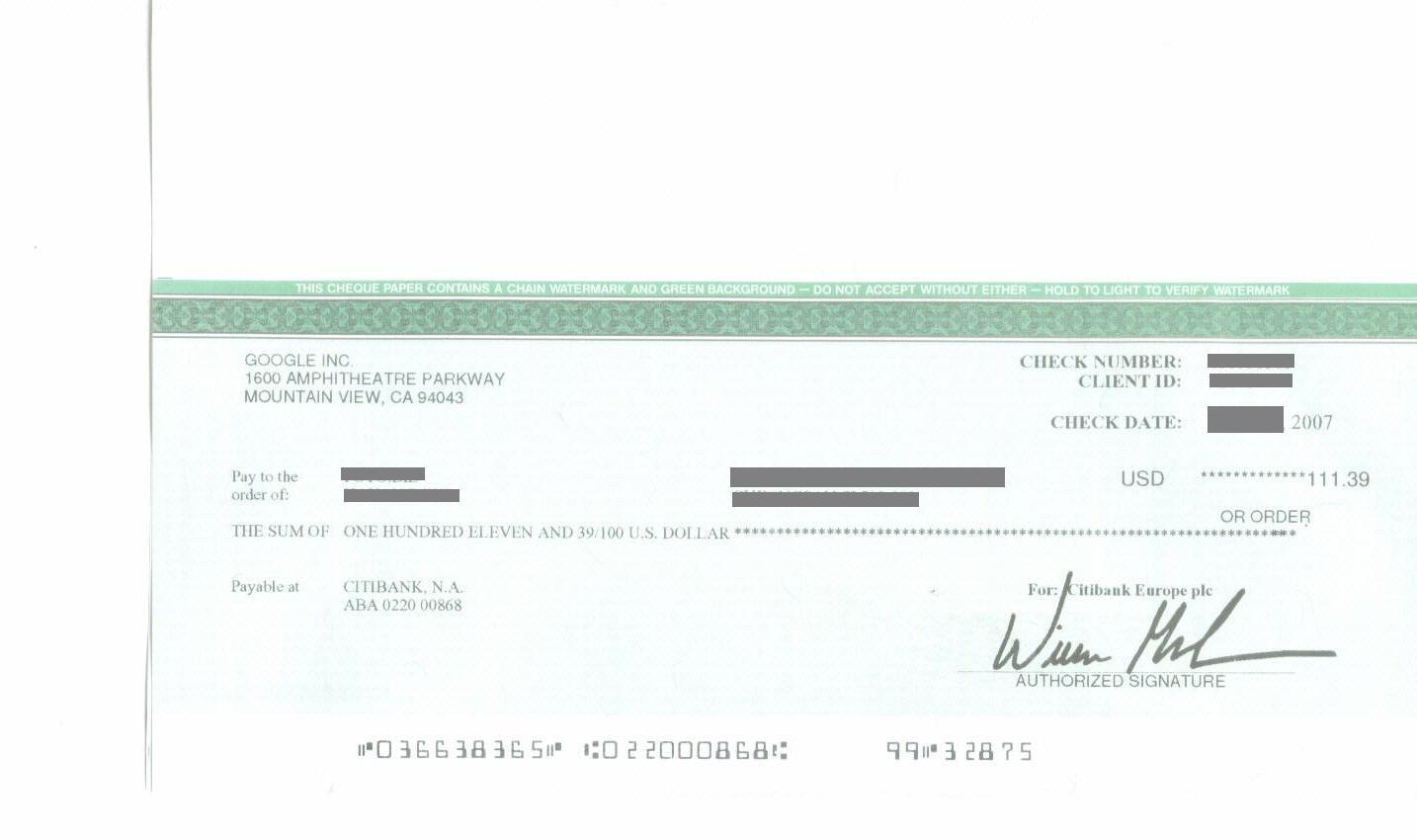 구글 애드센스 100$이상 수표지급 환전은 기업은행으로 최저수수료 5천원.